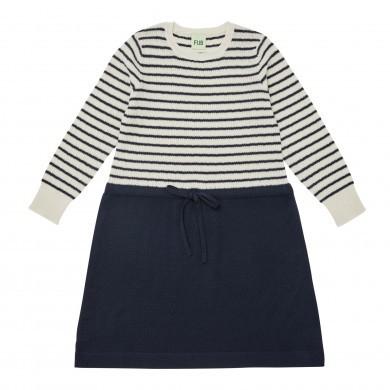 FUB kjole i 100% merinould. Ecru-Navy.