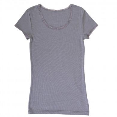 Joha dame T-Shirt i uld-silke. Victoria. Grå.