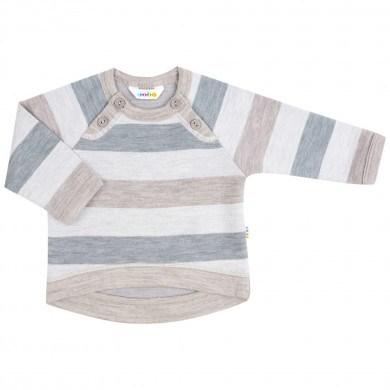 Joha bluse i 100% uld. EU Ecolabel og Woolmark certificeret. Sand og grå.