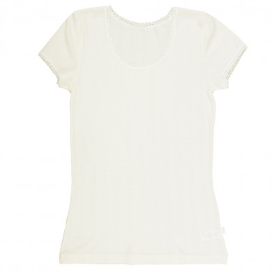 Joha dame T-Shirt i uld-silke. Filippa. Råhvid.
