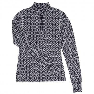 Joha dame bluse i 100% uld. Mørkeblå Harlekin.