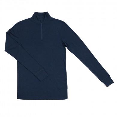 Joha herre bluse m-lynlås i 100% uld. Johansen. Blå.