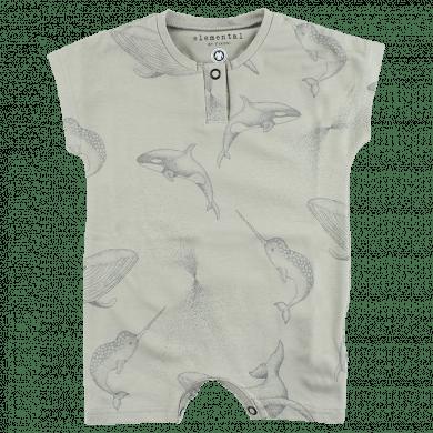 Fixoni sommerdragt i økologisk bomuld. Grøn m-print.