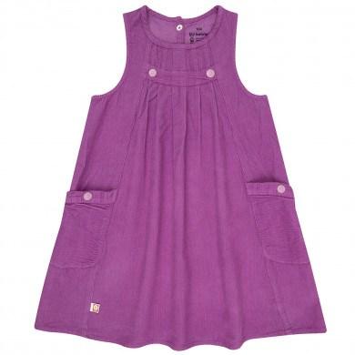 Katvig fløjls kjole i økologisk bomuld. Mørk rosa