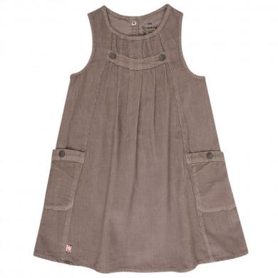 Katvig fløjls kjole i økologisk bomuld. Brun.