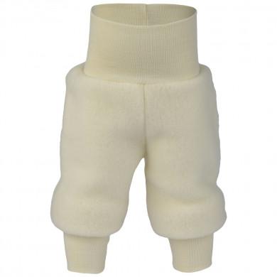 Engel baby fleece bukser i 100% merinould. Råhvid.