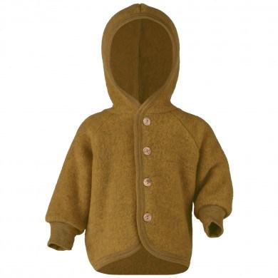Engel fleece cardigan med hætte i 100% uld. Safran Melange.