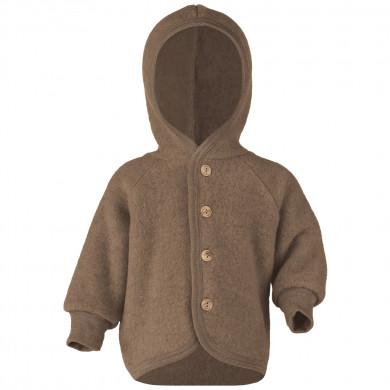 Engel fleece cardigan med hætte i 100% uld. Walnut Melange