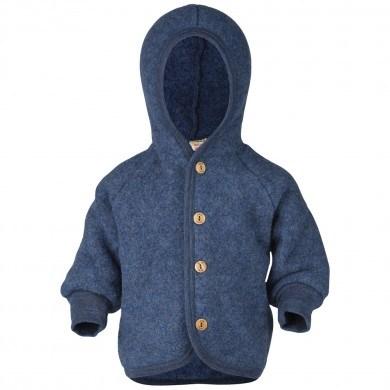 Engel fleece cardigan med hætte i 100% uld. Blå.