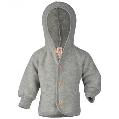 Engel fleece jakke med hætte i 100% uld. Lysegrå.