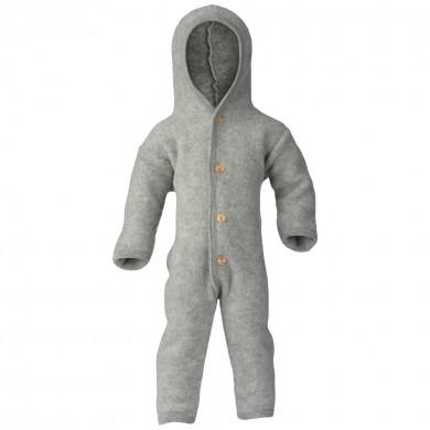 Engel barnevognsdragt med hætte i 100% uld. Grå.