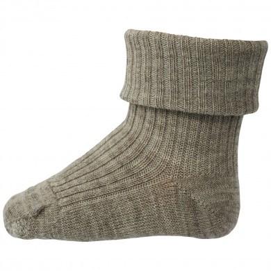 Mp-Danmark uld sokker med ombuk. Brune.