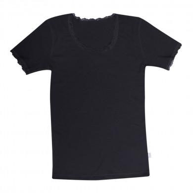 Joha dame T-shirt. 100% uld. Cecilie. Sort.