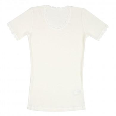 Joha dame T-shirt. 100% uld. Cecilie. Råhvid.