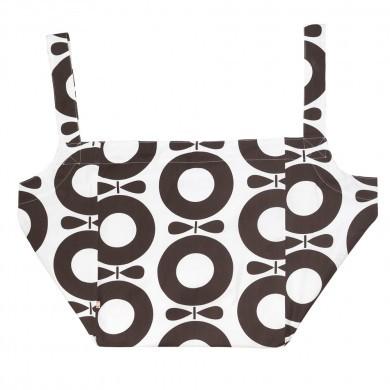 Katvig XL strand taske i økologisk bomuld. Brunt print.
