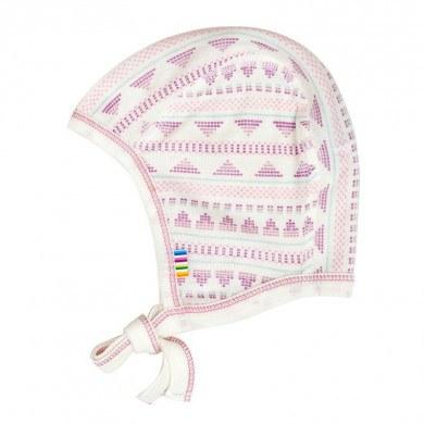 Joha hjelm i uld-silke. Råhvid og rosa mønstret.
