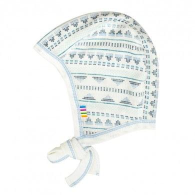 Joha hjelm i uld-silke. Råhvid og blå mønstret.