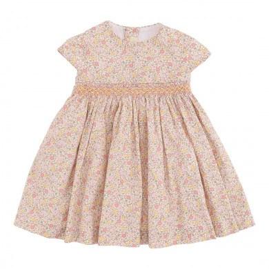 Alerin. Mijas smock kjole i økologisk bomuld. Rosa mønstret.