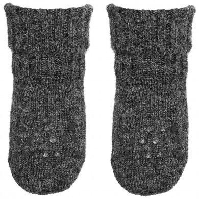 GoBabyGo skridsikre sokker i alpaka uld. Mørkegrå meleret.