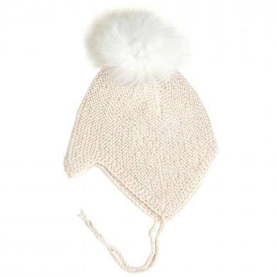 Huttelihut Boliva hjelm i håndstrikket alpaka uld m-kvaster. Råhvid.