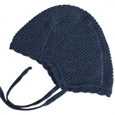 Huttelihut strik hjelm i bomuld. Mørkeblå.