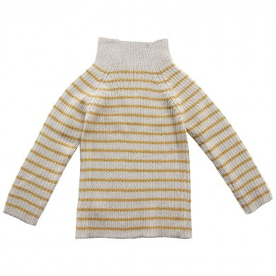 Esencia rib sweater i 100% alpaka uld. Stribet i råhvid og karry gul.