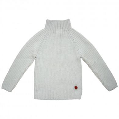 Esencia rib sweater i 100% alpaka uld. Råhvid.