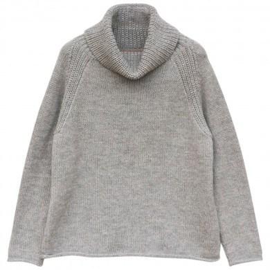 Esensia dame sweater m- høj hals i 100% alpakauld. Lysegrå.