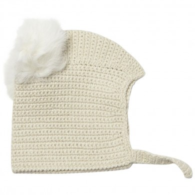 Huttelihut Boliva hue i håndhæklet alpaka uld m-kvaster. Råhvid.