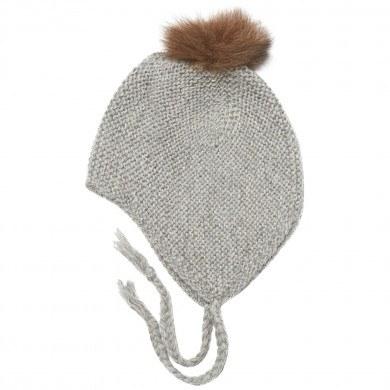 Huttelihut Boliva hue i håndstrikket alpaka uld m-kvast. Grå.
