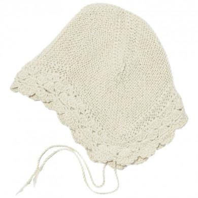 Huttelihut Bolivia baby hjelm. Håndstrikket alpakauld. Off. White-Lace.