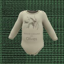 Zuztainia langærmet body. Oliven med print.