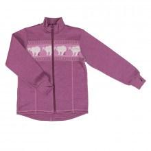 Joha cardigan med lynlås i 100% merinould. Mørk rosa -Polar Bear.