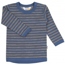 Joha bluse i uld-bomuld. Blå og brun.