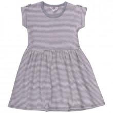 Müsli kjole i 100% økologisk bomuld. Grå melange strib.