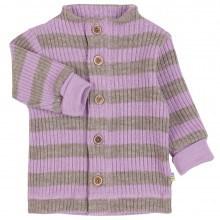 Joha strik cardigan i 100% uld. Stribet i brun og lys lilla.