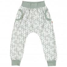 Katvig baggy bukser i økologisk bomuld. Grønt æble print.