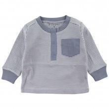 Fixoni baby bluse. Stribet blå og råhvid.