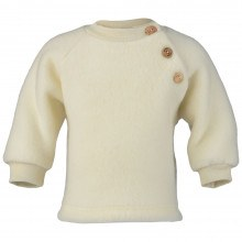 Engel baby fleece sweater i 100% merinould. Råhvid.