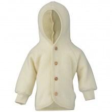 Engel fleece jakke med hætte i 100% uld. Råhvid.