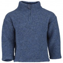 Engel fleece sweater m-lynlås i 100% merinould. Blå.