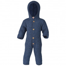 Engel barnevognsdragt med hætte i 100% uld. Blå.