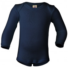 Engel langærmet body i uld-silke. Mørkeblå.