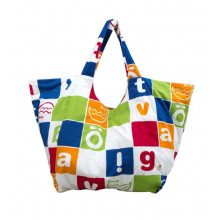 Katvig XL strand taske i økologisk bomuld. Multi print.