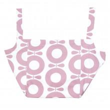 Katvig XL strand taske i økologisk bomuld. Rosa print.