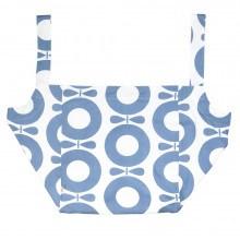 Katvig XL strand taske i økologisk bomuld. Blåt print.