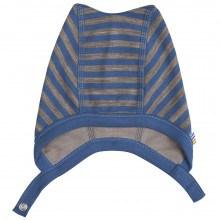 Joha hjelm m-knap lukning i uld-bomuld. Blå og brun.