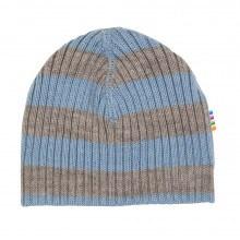 Joha strik hue i 100% uld. Stribet i brun og lys blå.