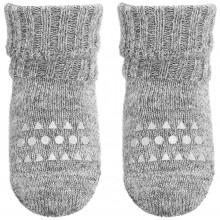 GoBabyGo skridsikre sokker i alpaka uld. Lys grå meleret.