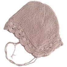 Huttelihut Bolivia baby hjelm. Håndstrikket alpakauld. Dusty Rose-Lace.